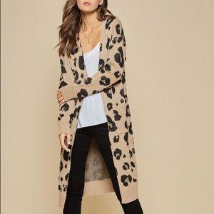 Long Leopard Cardigan - Khaki